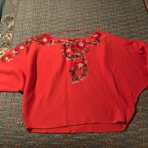 Free People (Used) Flower Embroidered Sweater